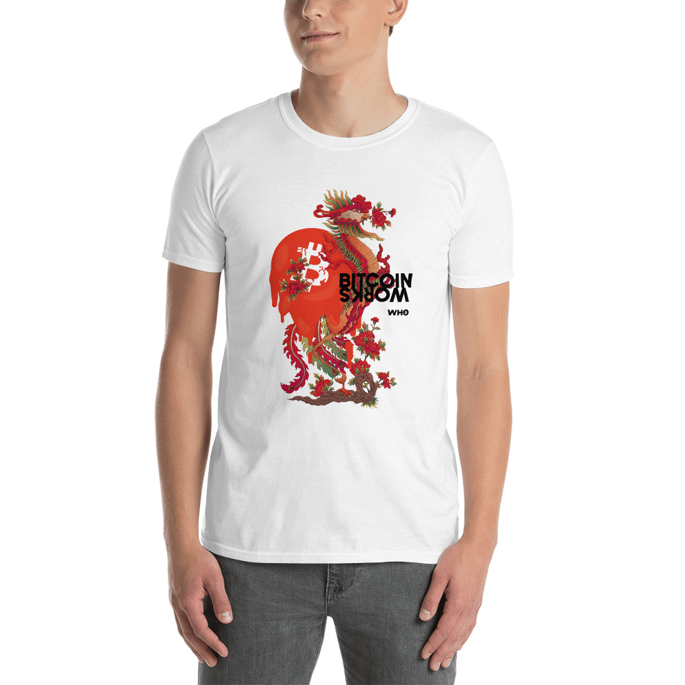 WEH0DL Bitcoin Red Dragon T Shirt FRONT GRAPHIC THIRD VIEW