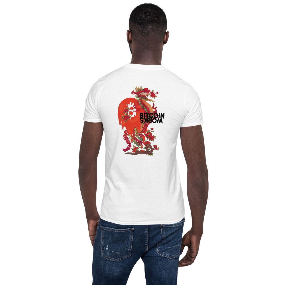 WEH0DL Bitcoin Red Dragon T Shirt FRONT AND BACK GRAPHIC THIRD VIEW