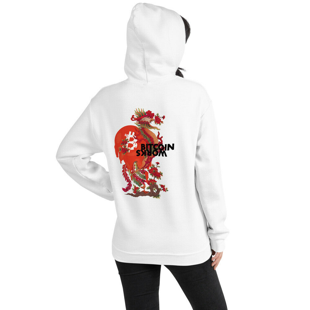 WEH0DL Gildan Bitcoin Red Dragon Hoodie BACK GRAPHIC FOURTH VIEW