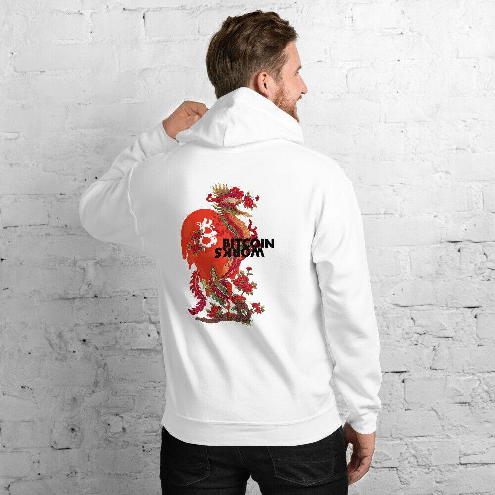 WEH0DL Gildan Bitcoin Red Dragon Hoodie BACK LOGO SIXTH VIEW