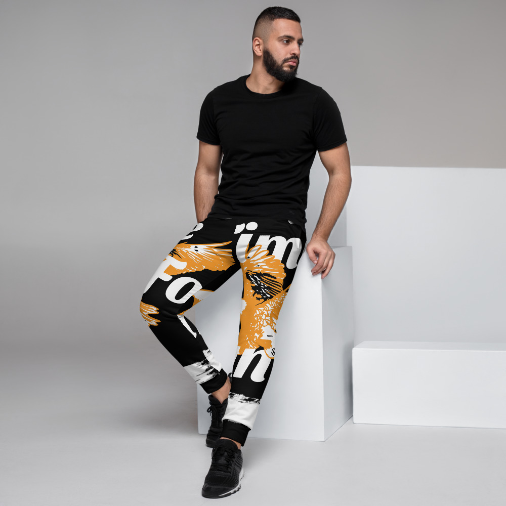 WEH0DL Bitcoin Orange Eagle Joggers – BLACK – FRONT AND BACK GRAPHICS – FIFTH VIEW
