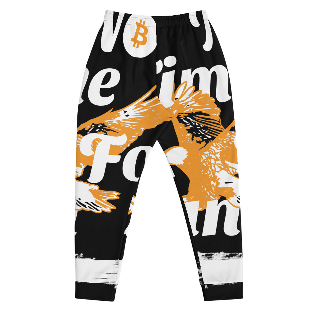 WEH0DL Bitcoin Orange Eagle Joggers – BLACK – FRONT AND BACK GRAPHICS – FIRST VIEW 1