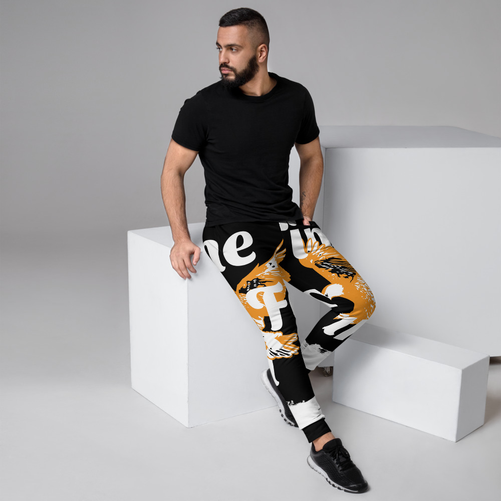 WEH0DL Bitcoin Orange Eagle Joggers – BLACK – FRONT AND BACK GRAPHICS – FOURTH VIEW