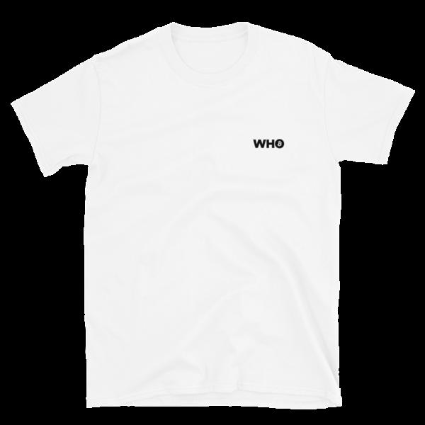 WHO Bitcoin Minimal T Shirt – WHITE 1