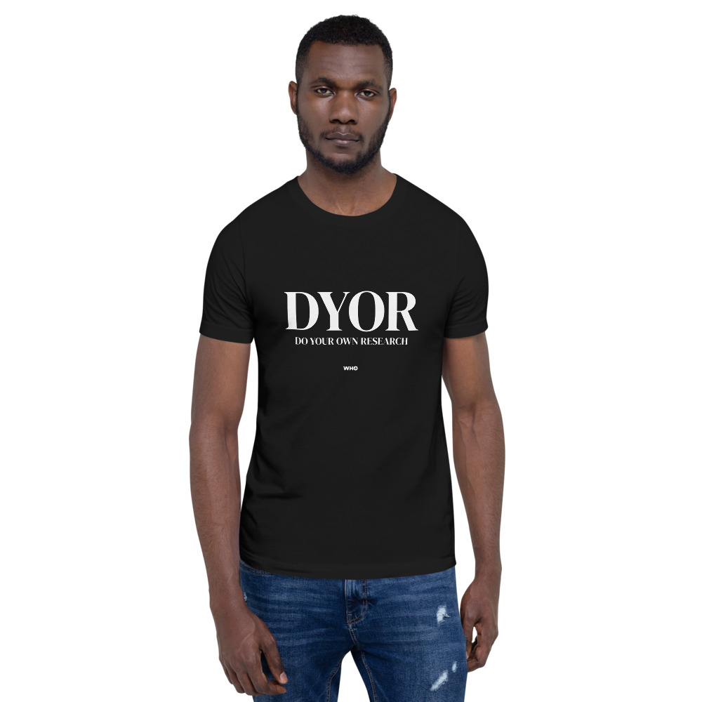 WEH0DL DYOR Classic Black T Shirt FRONT GRAPHIC – THIRD VIEWW