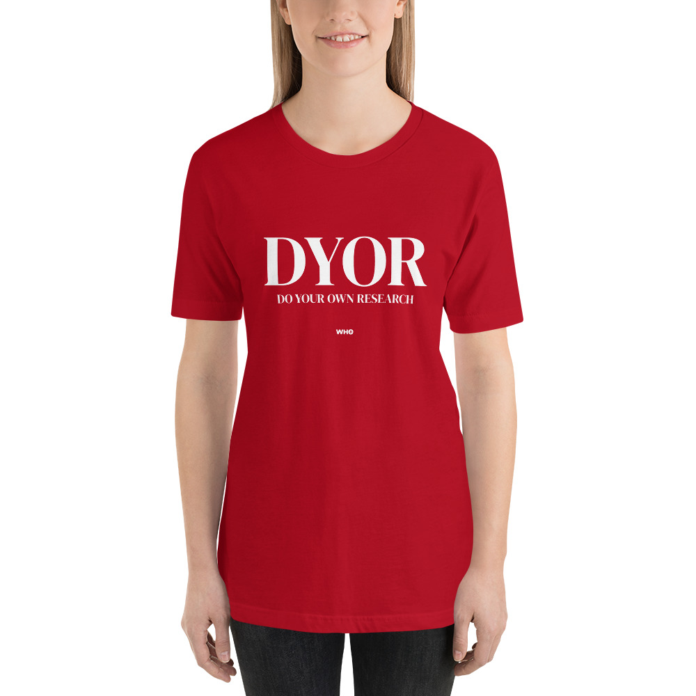 WEH0DL DYOR Classic Red T Shirt FRONT GRAPHIC – FIFTH VIEW