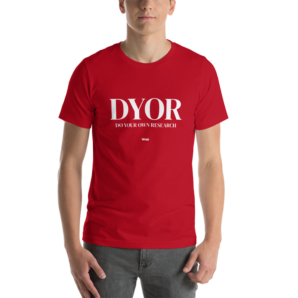 WEH0DL DYOR Classic Red T Shirt FRONT GRAPHIC – THIRD VIEW