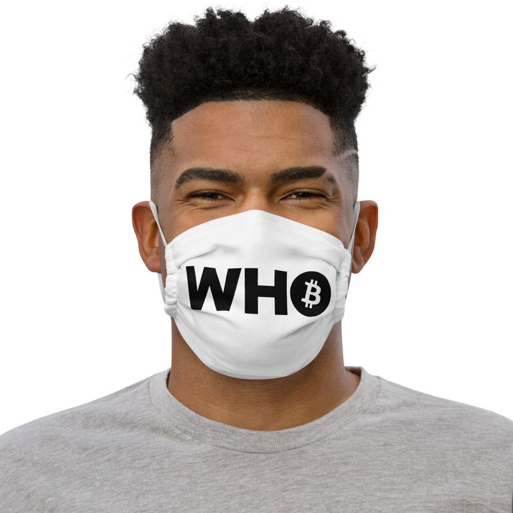 WEH0DL WHO Bitcoin Facemask – WHITE – FRONT GRAPHIC – SECOND VIEW 1
