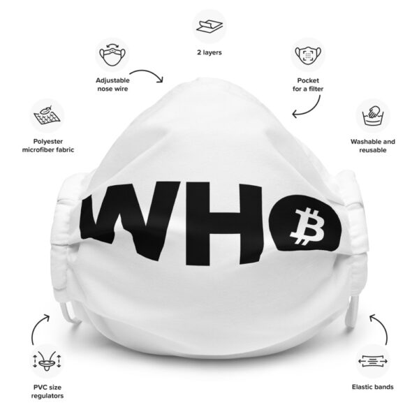 WEH0DL WHO Bitcoin Facemask – WHITE – FRONT GRAPHIC – SEVENTH VIEW