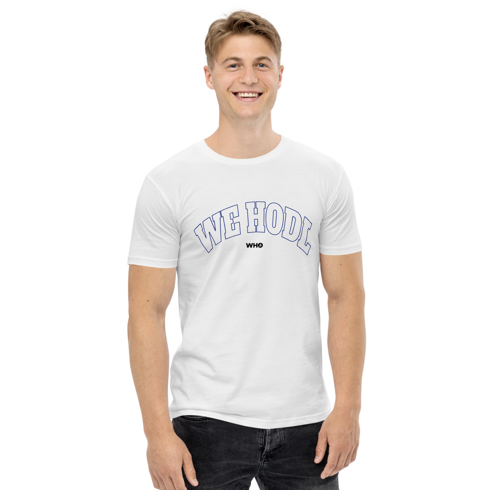 WE H0DL Classic T Shirt – WHITE – FRONT GRAPHIC – THIRD VIEW