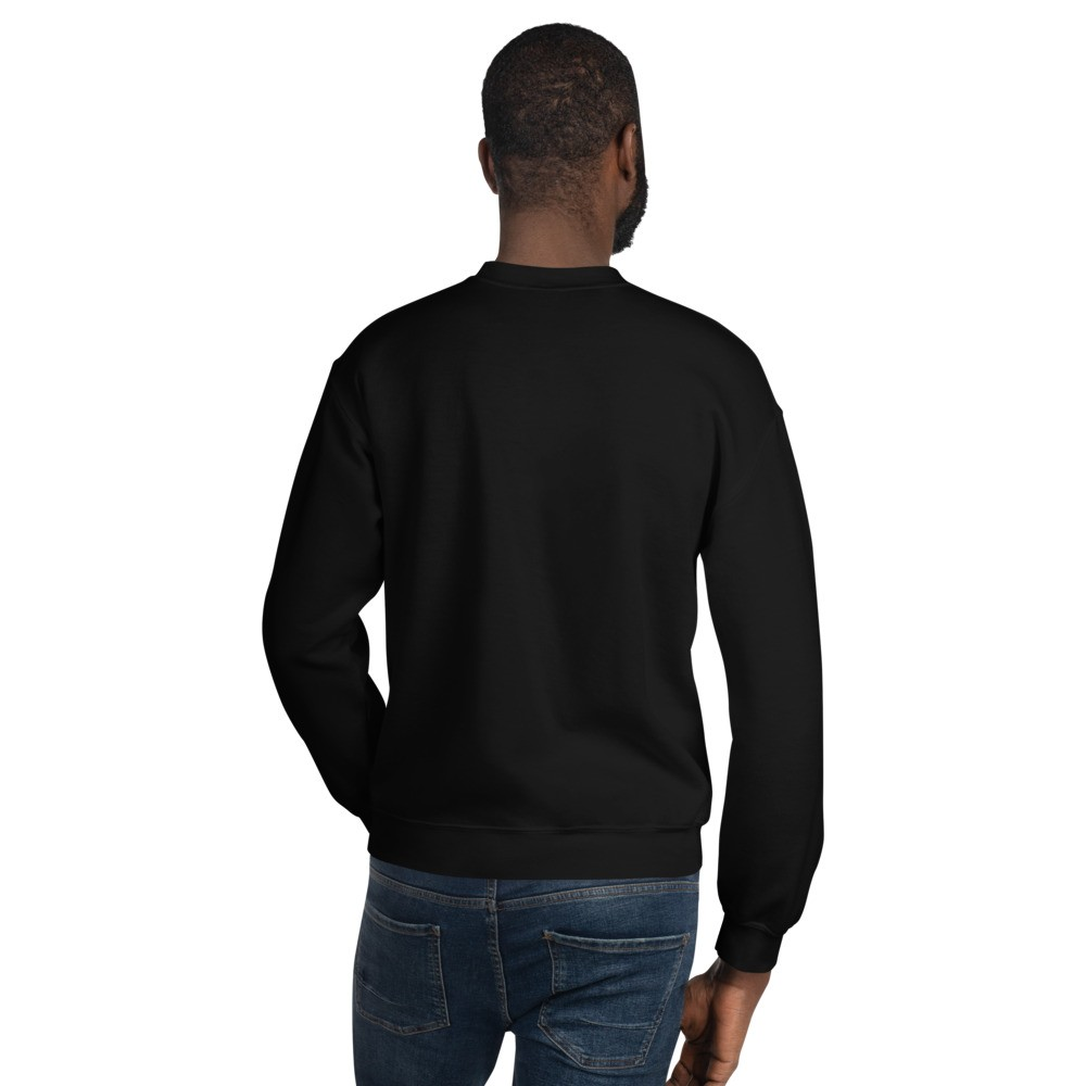 WEH0DL Crew Neck Sweatshirt – BLACK FRONT GRAPHIC – FOURTH VIEW