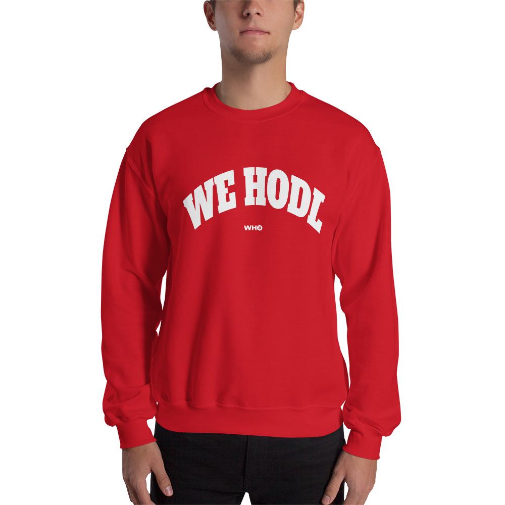 WEH0DL Crew Neck Sweatshirt – RED– FRONT GRAPHIC – THIRD VIEW