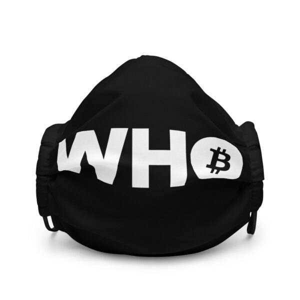 WEH0DL WHO Bitcoin Facemask – BLACK – FRONT GRAPHIC – FIRST VIEW 2 2